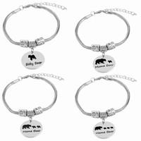 ingrosso giorni braccialetti bambino-Mama / Baby Bear Braccialetto regolabile Braccialetto a forma di mamma di 3 gioielli Triplets gioielli regalo di compleanno, regalo festa della mamma