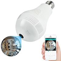 câmeras ip 3mp venda por atacado-3MP 2MP 1.3MP Câmera IP Sem Fio Lâmpada de Luz FishEye 360 Graus 3D VR Mini Panorâmica Câmera de Segurança Em Casa CCTV Lâmpada IP