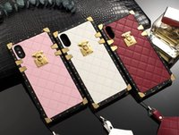 Wholesale Iphone Borders - For iPhone X 8 8plus PU lambskin leather lozenge Plating Electroplated border series for iPhone6 6plus 7 7plus