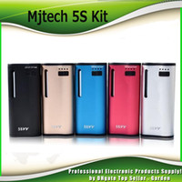 Wholesale genuine cartridges - Original Mjtech 5S VV Vaporizer Starter Kits 2 in 1 650mah Preheat Battery Wax Thick Oil Cartridge Box Mod Vape Kit 100% Genuine