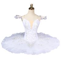 ingrosso costume cigno adulto-Spedizione gratuita per adulti White Swan Lake Ballet Tutu professionale costumi di balletto donne piatto tutu pancake BT8931