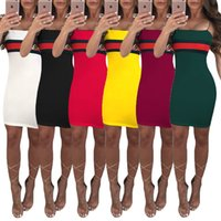 Wholesale womens sexy corsets - Hot Sexy Casual Dresses Striped Panelled Belt skirt for Women 2018 Slash Neck Womens Corset Middle-skirt Summer Street Style Dresses