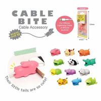 lustige telefonhalter großhandel-Cable Bite Protector für iPhone Kabelaufwicklung Handyhalter Zubehör Organizer Kaninchen Hund Katze Tier Puppe Modell lustig