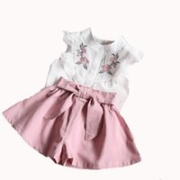 Wholesale outfits sets outwear resale online - New baby girls summer dress suits fashion tops pants flower embroidery skirts clothing sets outfits outwear
