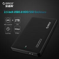 2.5 sata ssd toptan satış-ORICO 2 TB hdd raf aracı ücretsiz USB 3.0 sata 3.0 kutu hdd ssd 2.5 7mm 9.5mm Harici Sabit Disk Kasa notebook için (Sadece Durumda)