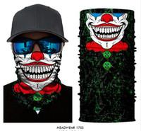 bandana tüp eşarp toptan satış-3D Dikişsiz Kafatası Joker Palyaço Tüp Boyun Tozluk Isıtıcı Eşarp Yüz Maskesi Cadılar Bayramı Kafa Şapkalar Bandana Güneş UV Koruma Maskesi