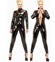 Wholesale sexy jumpsuits for women costume online - 2018 Hot Sexy Black Catwomen Jumpsuit PVC Spandex Latex Catsuit Costumes for Women Faux Fetish Leather Bodysuits