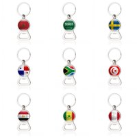 Wholesale Theme Ring - 2018 Russia FIFA World Cup Theme Keychain Bottle Opener Practical Key Ring Football Soccer Style National Flag Design Keys Charms 4 2xm Z