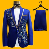 Wholesale gold pants for men - Wedding Groom Tuxedos Suit Men Fashion Blue Paillette Embroidered Male Singer Performance Party Prom Blazer Suit Costume 4 Piece For 2017