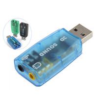usb mikrofon dizüstü toptan satış-Mic Hoparlör USB 3D Ses Kartı Ses Adaptörü PC veya Laptop için Sanal 5.1 Kanal