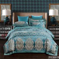 king size jacquard bettwäsche gesetzt großhandel-Luxus Satin Jacquard Bettwäsche Sets Stickerei Bett Set Doppel Königin King Size Bettbezug Bettlaken Set Kissenbezug