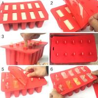 popsicle trays groihandel-New Design 10 Handy Kindheit Silikon-Eis-Würfel mit Abdeckung Fach Popsicle Moulds Wiederverwendbare Pop Lolly Gefrorene Mold Pan Kitchen Tools
