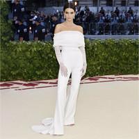 ingrosso kendall jenner sexy-Ohvera Sexy Tute lunghe per donna 2018 Off spalla tuta bianca elegante tuta estiva Kendall Jenner