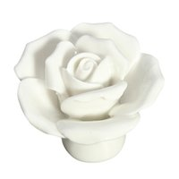 Wholesale Flower Ceramic Knobs - HOT SALE 1 x Button Door Handle Drawer Cabinet Closet Ceramic Flower Rose Dresser Knob white