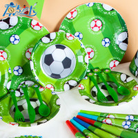 Wholesale box themes for sale - Group buy Kids World Cup Sports Football Theme Birthday Party Decoration Tableware Set Napkin Cups Tablecloth Flag Christmas Toy dk W
