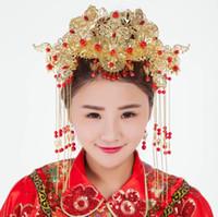 chinese headwear groihandel-Bridal Kopfbedeckungen, chinesische Antike, Phoenix Krone, Braut, Accessoires, Handwerk Xiu, Kimono und Cheongsam.