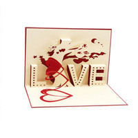 Wholesale pop up card heart 3d resale online - D Pop Up Cards Cupid Heart Happy Valentine Anniversary Birthday Christmas Postcard