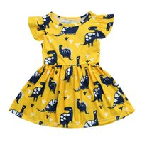 Wholesale clothe girl free shipping resale online - Baby girls dinosaur print dress summer Children Flying sleeves princess dress Boutique Kids Clothing C4412