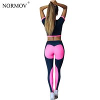 Wholesale Pleated Pants Cropped - NORMOV 2017 Autumn Fitness Tracksuit Women Two Piece Set Crop Top Sporting Suit Women Cropped Top and Pants S-L
