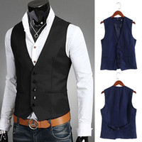 Wholesale sleeveless jacket for male casual online - New Dress Vests For Men Slim Fit Mens Suit Vest Male Waist Coat Gilet Homme Casual Sleeveless Formal Business Jacket
