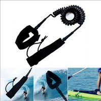 Wholesale stand up paddling - 7MM Surfboard Leash Surfing Foot Rope Stand Up Paddle Board Leash Cord Wrist Coil Leash Surfing Rope OOA4944