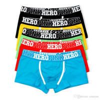 Wholesale Men Boxer Pants - Pink Heroes 5pcs\\lot Men Underwear Boxers Cotton Sexy Boxer Mens Underwear Low Price Brand Clothing Men Boxer Pants Shorts