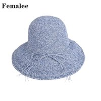 234ab89d51c FEMALEE Hot Sale Sunscreen Boater Hat Korea Dome Lady String Multi-Color Brim  Handmade Straw Cap Bow Tie Leisure Outdoor Holiday