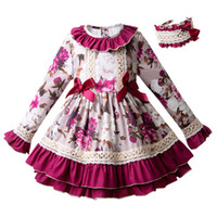 Wholesale flowers england for sale - Pettigirl England Style Floral Autumn Flower Girl Dress Flare Sleeve Party Dress With Headband Children Pageant Clothing G DMGD103 B220