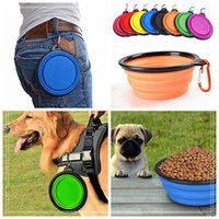 Wholesale Dogs Feeder - Portable Silicone Collapsible Dog Bowl Cat Puppy Pet Feeding Travel Bowl with Carabiner Easy Carry Pet Food Bowl Feeder Dish w Hook b1139-1