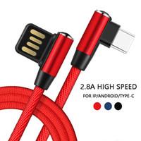ingrosso cavo a mele-Per iPhone Lightning Cable Android Type-C 90 gradi a doppia faccia spina USB ricarica cavo di nylon gomito per iPad Samsung Xiaomi Huawei