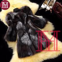 casaco de peles fox girl venda por atacado-2018 Moda menina inverno real de prata casaco de pele de raposa mulheres 100% natural fox fur outerwear marca plus size Personalizado
