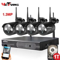 Wholesale Wireless Dvr Security Camera Systems - 4 Camera Wireless Security System with DVR P2P HD 960P 20m Night Vision Waterproof Outdoor Wifi Camera NVR kit 4CH