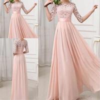 champanhe vestido de dama de honra venda por atacado-2018 sexy pink chiffon a linha de dama de honra vestidos de dama de honra longo champagne vestidos de azul royal barato plus size custom made vestidos