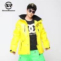 gelbe sportjacke jungen großhandel-StormRunner Männer Schnee Ski Jacke hellgelb Farbe Schnee Jacke Outdoor-Sport für Jungen