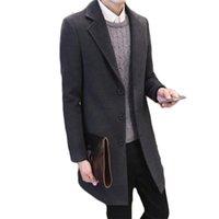 ingrosso cappotto di trincea miscela di lana sottile-Cappotto da uomo Winter Wool Blend Warm Trench Coat Jacket monopetto Peacoat Plus Size Slim Trench da uomo Grigio caldo bello