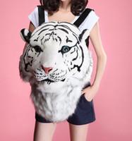 mochilas blancas al por mayor-Moda Tiger Head Bolsa Mochila León Mochila White Tiger Head Bags Unisex Zipper Mochila Envío Gratis