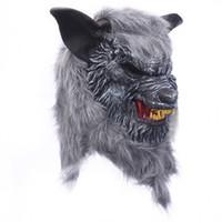 tier wolf maske großhandel-Halloween Wolf Maske Tierkopf unheimlich gruselig Werwolf Maske Cosplay Maske für Party Monster Latex Maske Requisiten Maskers