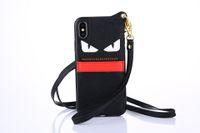 Wholesale wrist strap handbag resale online - Fashion Brand Devil Eyes Leather Wallet Case Wristband Bracelet Phone Shell Wrist Strap Rope Back Cover Tide for iPhone X s Plus