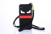 carteras de pulsera al por mayor-Moda Marca Devil Eyes Leather Wallet Case Pulsera Pulsera Teléfono Shell Correa para la muñeca Cuerda Cubierta Trasera Tide para iPhone X 6s 7 Plus