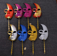 Wholesale ball masks sticks online - Party Half Face Glitter Masquerade Mask with Stick Midnight Venetian Masquerade Ball Carnival Wedding Masks With Hand Held Stick