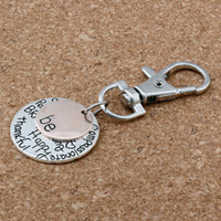 """Wholesale wholesale christmas charms - Hot ! 50Pcs Antique Silver  gold Alloy """"Be"""" Happy Strong Thankfull Charm With lobster clasp DIY Jewelry 25mm"""