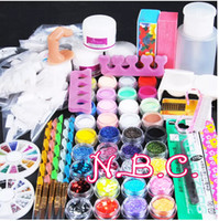Wholesale glitter nail tips designs - Acryilc Powder Dust Nail Art Kit French Tips Glitter File 3D Design Without Acrylic Liquid for Manicure Nail Art Tools Salon Set