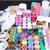 acrylnagelentwürfe französische spitze großhandel-Acryilc Staub Nail Art Kit Französisch Tipps Glitter Datei 3D-Design ohne Acryl-Flüssigkeit für Maniküre Nail Art Tools Salon Set