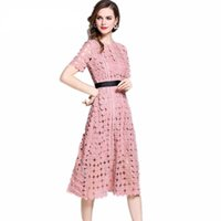 rosa weiße sommerkleid frauen großhandel-2018 neuankömmling chic herrlich weiß rosa elegante spitze aushöhlen dress frauen mode kurzarm dress sommer dress