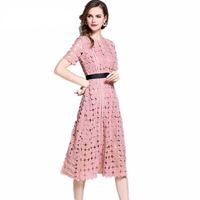 ingrosso donne abiti corti rosa-2018 nuovo arrivo chic splendido bianco rosa elegante pizzo scava fuori le donne moda abito manica corta abito estivo
