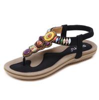 boncuk sandaletleri toptan satış-2018 Yaz Bohemia kadın Sandalet Caual Dize Boncuk Plaj Ayakkabıları Üzerinde Kayma Artı Boyutu 35-42 Etnik Sandalia Femal