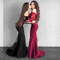 uzun kollu narin gelinlik toptan satış-Narin Dantel Mermaid Uzun Kollu Gelinlik Modelleri Vintage Kapalı Omuz Uzun Balo Abiye Arapça Örgün Düğün Konuk Elbise