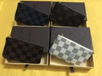 Wholesale Famous Coins - 2018 KEY POUCH Damier canvas holds high quality famous classical designer women key holder coin purse small leer free shopping
