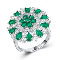 Wholesale emerald ring set - Fashion Women Sunflower Emerald Cz Engagement Ring 925 Silver Filled Finger Ring for Lady Jewelry Gift Factory Wholesale Size 6-10