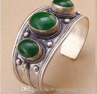 Wholesale jade bangle bracelet silver - Unisex Vintage Oval Green Jade Stone Bead Cuff Bracelet Bangle Tibet Silver
